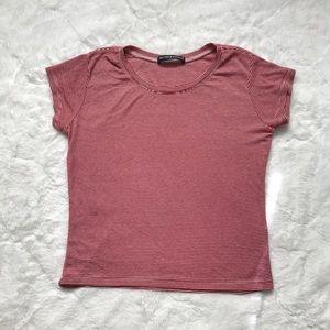 Brandy Melville Striped Short Sleeve Crop Top OS